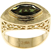 New 18k Yellow Gold & Green Tourmaline Ring.