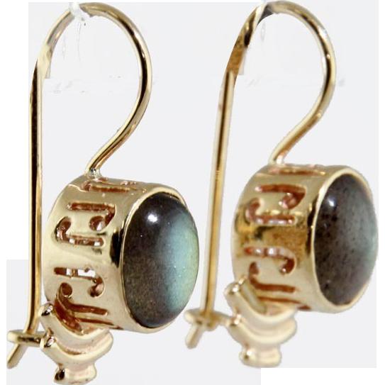 Pair of 14 Karat Yellow Gold & Labradorite Earrings.