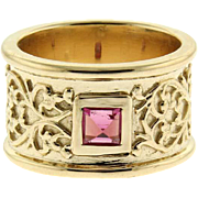 New 14 Karat Yellow Gold and Tourmaline Ring.