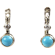 Pair of 14 Karat White Gold Turquoise & CZ Earrings.
