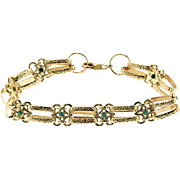14 Karat Yellow Gold and Turquoise Bracelet.