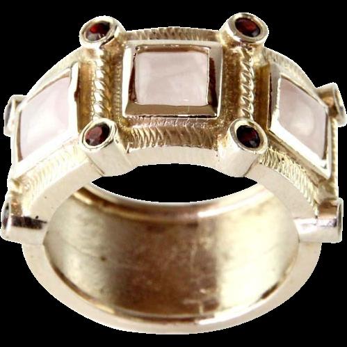 New 14 Karat White Gold Rose Quartz & Garnet Ring