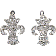 Pair of 14k White Gold Fleur-De-Lis Diamond Earrings.