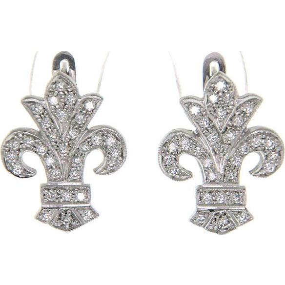 Pair of 14k White Gold Fleur-De-Lis Diamond Earrings.