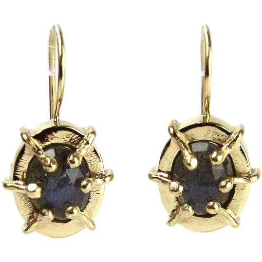 Pair of 14 Karat Yellow Gold Labradorite Earrings