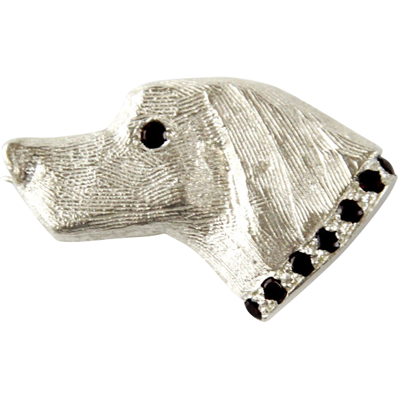 Novelty Sterling Silver & Garnet Hound Dog Brooch.