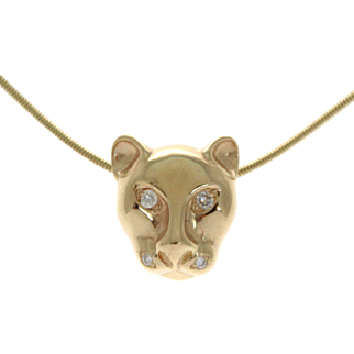 New 14 Karat Yellow Gold and Diamond Panther Pendant on Chain Necklace.