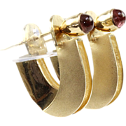 14 Karat Yellow Gold and Pink Tourmaline Earrings