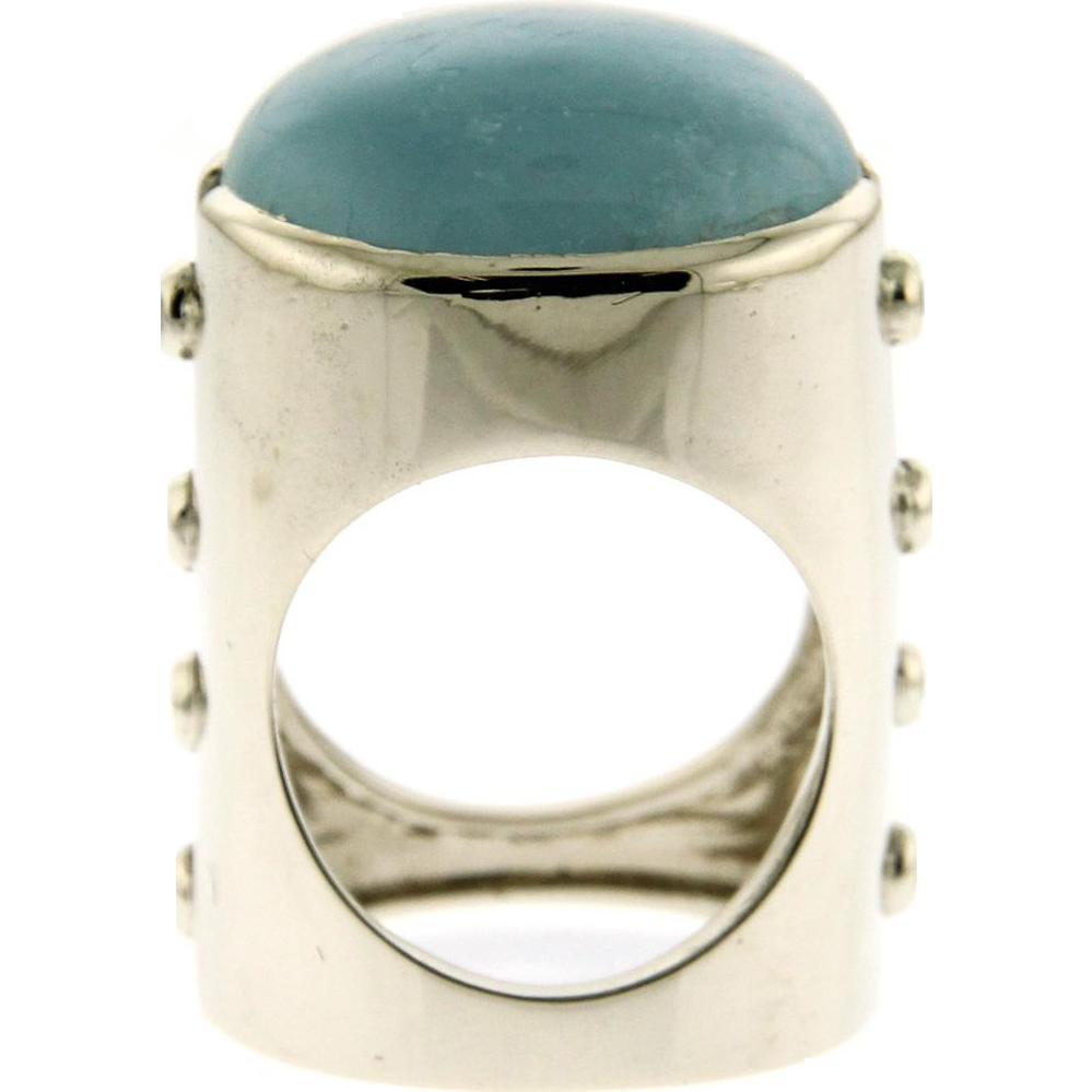New 14k White Gold Black Diamond & Aquamarine Ring.