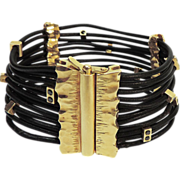 14 Karat Yellow Gold & Black Leather Black Diamond Bracelet.