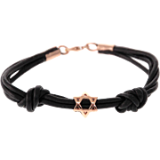 14 Karat Rose Gold Star of David Leather Bracelet.