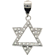 14 Karat White Gold and Diamond Star of David Pendant.