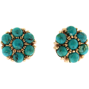Pair of 14 Karat Rose Gold and Turquoise Stud Earrings.