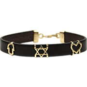 14 Karat Yellow Gold and Leather Star Of David Charm Bracelet