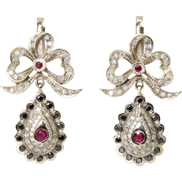 14 Karat White Gold 1.92ct Diamond and Ruby Earrings