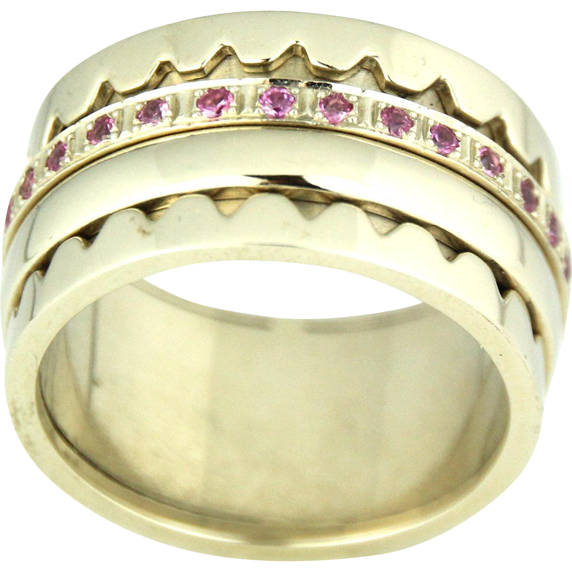 New 14k White Gold Pink Sapphire Swivel Band