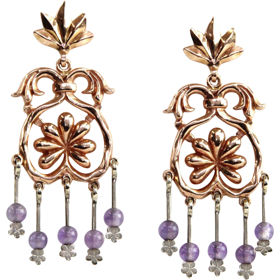 14 Karat Rose & White Gold Amethyst Chandelier Earrings