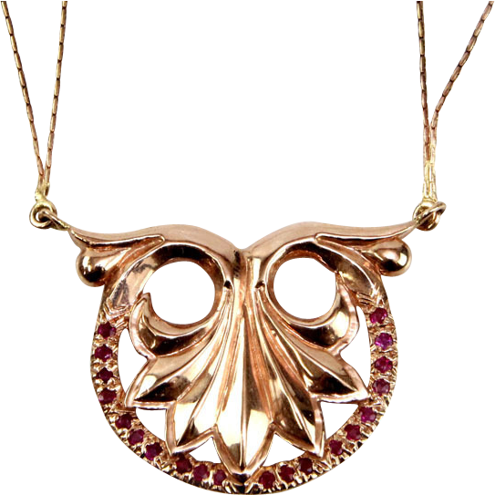 14 Karat Rose Gold and Ruby Necklace