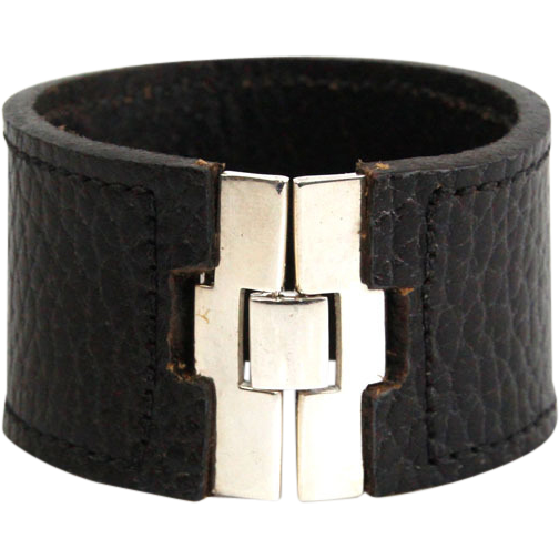 Sterling Silver & Black Leather Bracelet.