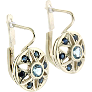 Pair of 14 Karat White Gold Aquamarine and Sapphire Earrings.