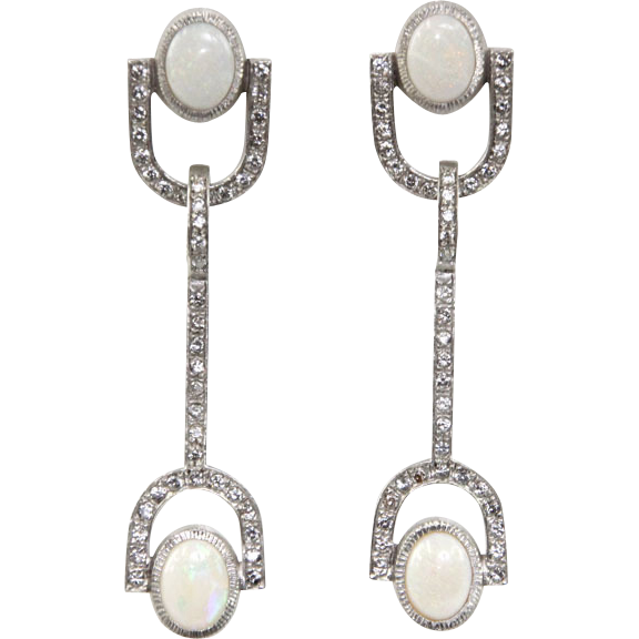 Pair of 14 Karat White Gold Diamond and Opal Stiletto Earrings