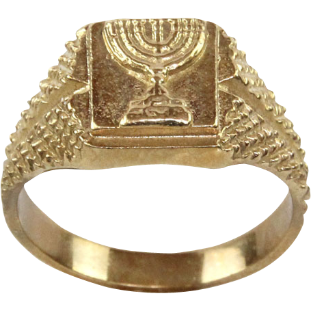 9 Karat Yellow Gold Unisex Menorah Ring Judaica