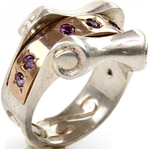 New 9 Karat Rose Gold & Sterling Silver Amethyst Ring.