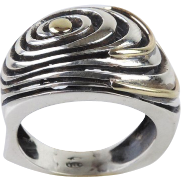 New 14 Karat Yellow Gold & Sterling Silver Spiral Ring.