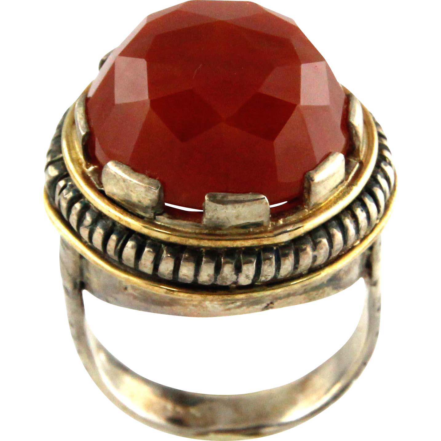 14k Yellow Gold & Sterling Silver Carnelian Ring