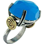 14k Yellow Gold & Sterling Silver Blue Ocean Ring.