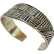 14 Karat Yellow Gold & Sterling Silver Cuff Bracelet
