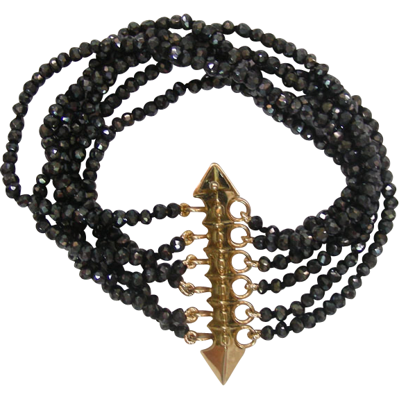 14 Karat Yellow Gold and Black Spinell 6 String Bracelet