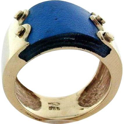 14k Yellow Gold & Blue Leather Ring