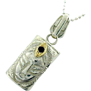 14k Yellow Gold & Sterling Silver Garnet Pendant