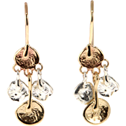 New Pair of 14k Yellow Gold & Sterling Silver Dangling Earrings.