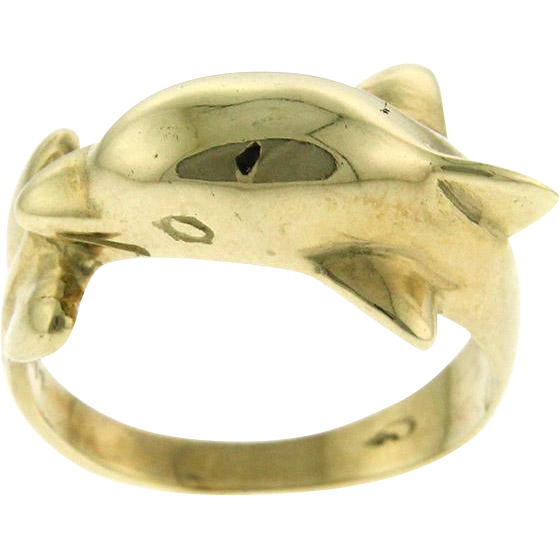 novelty new 9 karat yellow gold dolphin ring from pasarel