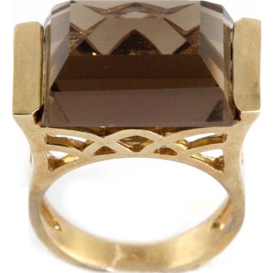9 Karat Yellow Gold & Smokey Topaz Ring.