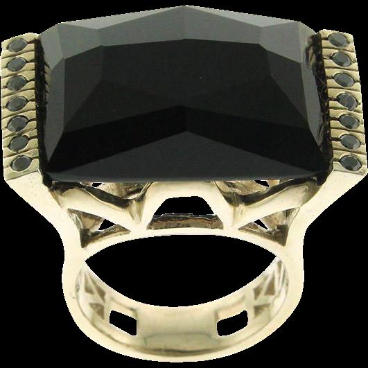 New 14k White Gold Black Diamond Onyx Ring