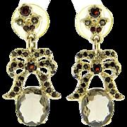 9k Yellow Gold Smokey Topaz & Garnet Earrings
