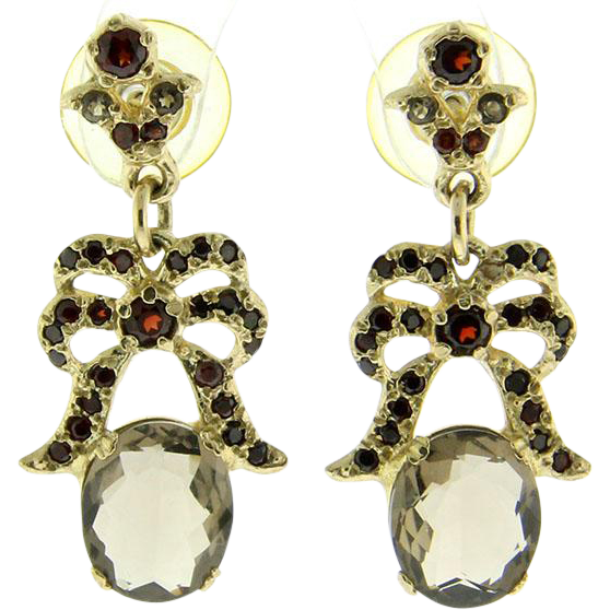 9k Yellow Gold Smokey Topaz & Garnet Earrings