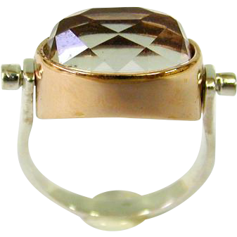 14 Karat Rose Gold & Sterling Silver Crystal Rotating Ring.