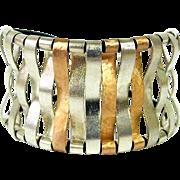 9k Rose Gold & Sterling Silver Cuff Bracelet