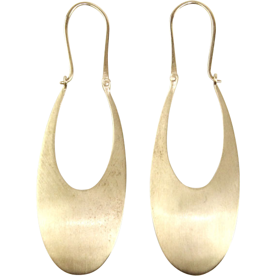 Pair of 14 Karat Yellow Gold Matte Hanging Earrings