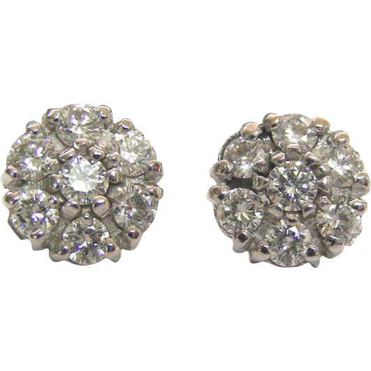 Pair of 14 Karat White Gold and 1.35ct Diamond Stud Earrings