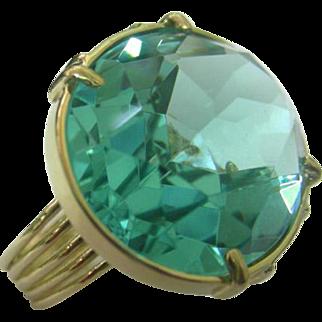 14k Yellow Gold & Aquamarine CZ Ring.