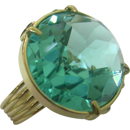 14k Yellow Gold & Aquamarine CZ Ring.