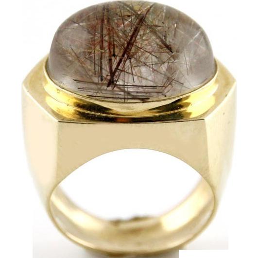 14 Karat Yellow Gold and 20ct Rutile Quartz Ring