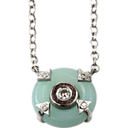 New 14 Karat White Gold Diamond & Amazonite Pendant On Chain Necklace.