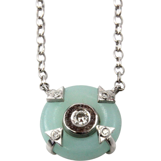 New 14 Karat White Gold Diamond & Amazonite Pendant On Chain Necklace.