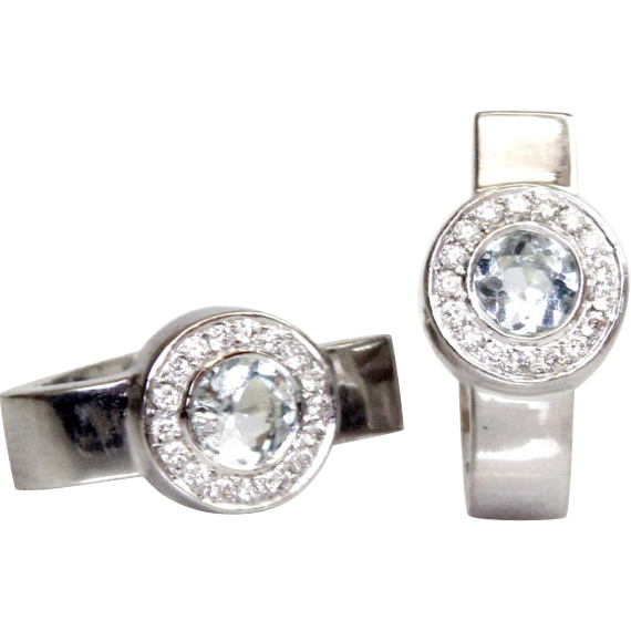New Pair of 14k White Gold Diamond & Aquamarine Huggie Earrings.